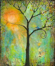 Sonnenschein, Wandkunst, Baum Drucken-13 X 19 Bluebirds Romantik, Wanddekoration, Liebe Vögel