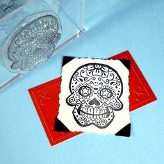Sugar Skull Day of the Dead Clear Polymer Rubber Stamp. via Etsy.