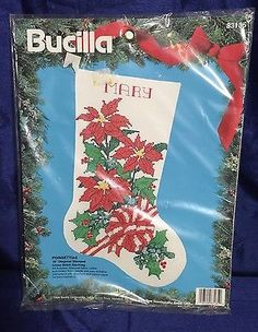"Bucilla Cross Stitch Poinsettias 18"" Christmas Stocking Kit Stamped Customizable"