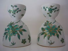 Set 2  A.C.F. Hong Kong Decorated Ceramic Double Egg Cups Teal Green Gold Floral