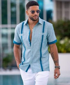Miami Outfits, Summer Outfits Men, Stylish Mens Outfits, Men's Beach Outfits, Men's Summer Clothes, Men's Casual Outfits, Most Stylish Men, Casual Shirts For Men, Men Shirts