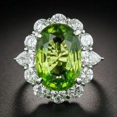 Large Peridot Platinum and Diamond Cocktail Ring