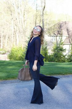 Extreme Flare Jeans   Free People Bell Bottoms   Bell Sleeve Peplum Zara Navy Blouse   Mirrored Sunglasses   Casual Style on Living After Midnite by Jackie Giardina