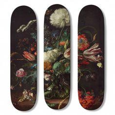 Après La Dame à la Licorne et le Jardin des délices de Bosh, boom-art, spécialisé dans l'édition limitée de planches de skateboard et UWL Surfboard, l'un des meilleurs atelier de fabrication de surf en Europe, lance une nouvelle série de planches de surf et de skate: La série « 504» par Jan Davidsz de Heem (1606-1684) et Gustav Klimt (1862-1918). Fabrication à la main, en France, édition limitée et numérotée de 10 exemplaires.