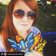 """It me! My name is Sara Hollohan (hence """"Hollohandcrafted"""") and I live in Calgary, Alberta, Canada with my better half, our adorable little dude and way too many pets. I've been crafting almost my whole life and have done cross stitch, scrapbooking, woodworking and now I'm all about dat pixel art. By day I build computer models of coal mines and by night I build pixelated Pokémon."""