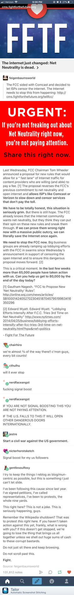 I know this isn't Art but this is something really important. The FCC votes Dec 14 whether or not to keep net neutrality.