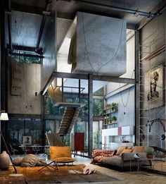 Here are 40 of our best picks for most beautiful loft living spaces! Read what is a loft apartment and loft style. Get ideas for your loft homes. Industrial Living, Industrial Interiors, Industrial Style, Industrial Design, Industrial Furniture, Industrial Bedroom, Industrial Windows, Kitchen Industrial, Industrial Apartment