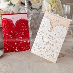 Laser Cut-out Floral Design Wedding Invitations Cards With Envelopes and Seals #Unbranded #Wedding