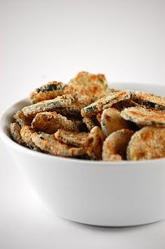 Baked Zucchini Chips recipe...dip in buttermilk ranch dressing.