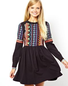 ASOS Skater Dress In Sweat With Embroidered Panel