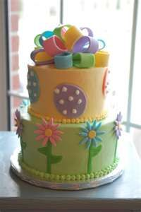 Easter Cake #Bow #Eggs #Flowers pretty cake for easter! We love!