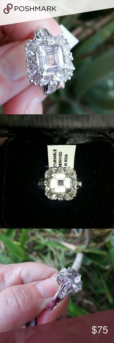 🍍ASSCHER CUT WHITE TOPAZ🌴 🍍PLATINUM OVER 925 STERLING  SILVER TGW 5.08 CTS WHITE TOPAZ CONTEMPORARY STYLE RING SIZE 8🍍 Jewelry Rings