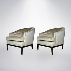 Pair of T. H. Robsjohn-Gibbings Inspired Lounge Chairs | From a unique collection of antique and modern lounge chairs at https://www.1stdibs.com/furniture/seating/lounge-chairs/
