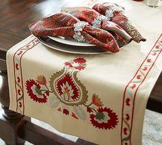 Holiday Susani Medallion Table Runner #potterybarn - Susani for Christmas