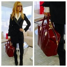 She looks so polished with her Rachel Zoe Collection Morrison  Red tote. Can stylist have a Stylist Day Off?