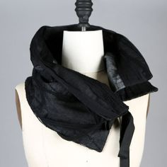 Oversized Black Silk Scarf Scarflette Collar by Felinus on Etsy, $82.00