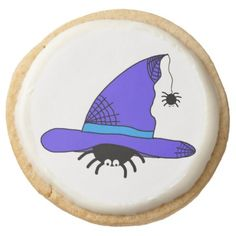 Spider Witch Hat Halloween Purple Web Spiders Blue Round Shortbread Cookie - decor diy cyo customize home