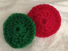 Crocheted nylon net pot scrubbies.
