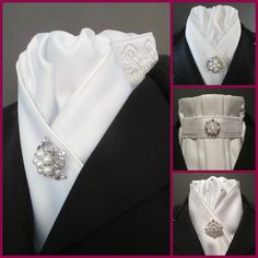 Elegant all white stock ties from Equestrian Pzazz. Check out our Facebook page at www.facebook.com/eqpzazz