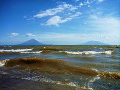 Volcan Mombacho and Masaya behind Lake Nicaragua