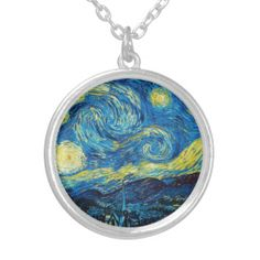 if u're an art lover, u'll probably be amazed by this Van Gogh Starry Night Necklace Star Necklace, Locket Necklace, Pendant Necklace, Vincent Van Gogh, Star Jewelry, Jewelry Box, Jewelry Necklaces, Vans Shop, Fashion Necklace
