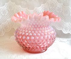 Vintage Opalescent Cranberry Glass Vase. $50.00, via Etsy.