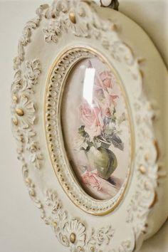 shabby shic romantic white photo frame with pink roses.