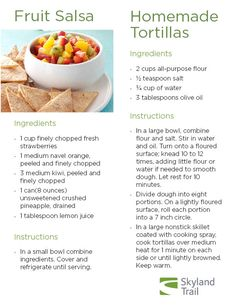 Clients in our Cooking For Your Health Group recently made fruit salsa with homemade tortillas. Check out the recipe.