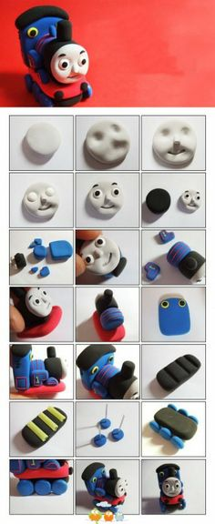 Thomas the train - how to Cupcake Toppers, Fondant Toppers, Fondant Cakes, Cupcake Cakes, Fondant Ruffles, Thomas The Train Birthday Party, Trains Birthday Party, 2 Birthday Cake, Fondant Birthday Cakes