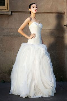 Organza Ball Gown with Ruffled Floral Skirt - Yalan Wedding Couture
