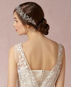 Bridal bun with rhinestone headband