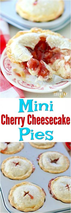 Mini Cherry Cheesecake Pies recipe with #PamperedChef and The Country Cook #ad #LittleWins #cherry #holiday #desserts #ideas #cheesecake #easy #pie