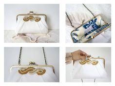 #artdeco #weddings #retroweddings #vintageweddings #dcweddings #dc #fashion #accessories #art #handmade #etsy #etsyweddings #beadsandpleats Pleated Art Deco Clutch PursePale Ivory with Beaded by tbtcwedding, $95.00