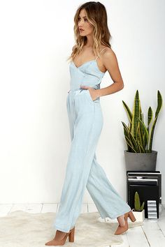 9f18d0e818ee BB Dakota Elliot Light Blue Chambray Jumpsuit