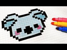 Handmade Pixel Art - How To Draw Kawaii Koala Koala Kawaii, Art Kawaii, Pixel Art Koala, Modele Pixel Art, Pixel Drawing, Graph Paper Art, Pixel Art Templates, Fuse Bead Patterns, Pix Art