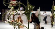 Aisha Zahid from Pakistan at work at the World Flower Show. Photograph: Cyril Byrne/The Irish Times