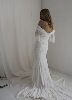 Isla off the shoulder wedding dress - Bo and Luca Elegant Wedding Dress, Designer Wedding Dresses, Elegant Dresses, Beaded Wedding Gowns, Bridal Gowns, Bo And Luca, Bell Sleeves, Wedding Inspiration, Soft Layers