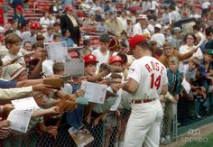 Pete Rose signs autographs for fans at Crosley Field in 1969