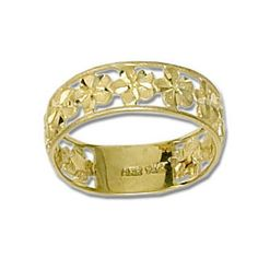 14kt Gold Hawaiian Plumeria ring Band