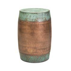 "Fabiola Copper-Plated Stool | dotandbo.com     Dimensions: 19.25"" H x 15"" W x 15"" D     Materials: 100% Iron Sheet     Weight: Approx. 12 lbs. $154"