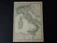 ITALY old map LARGE 1866 beautiful antique by DecorativePrints