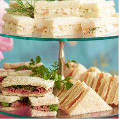 Here are 5 scrumptious high tea sandwich recipes to suit any occasion. Display these sandwiches on a tiered tray for a modern, high tea party everyone will enjoy. High Tea Sandwiches, Finger Sandwiches, Cucumber Sandwiches, Gourmet Sandwiches, Delicious Sandwiches, Tea Recipes, Cooking Recipes, Party Recipes, Brunch Recipes