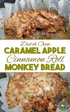 Dutch Oven Caramel Apple Cinnamon Roll Monkey Bread Recipe - Want a great dessert for camping? Then try this Caramel Apple Cinnamon Roll Monkey Bread recipe that is made in the dutch oven. The recipes calls for refrigerated cinnamon roll dough. Camping Desserts, Camping Meals, Camping Recipes, Camping Cooking, Camping Hacks, Outdoor Cooking, Camping Dishes, Camping Stuff, Fall Camping Food