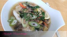 Asiatische Reisnudelsuppe Chicken Curry, Vegan, Ramen, Soup, Ethnic Recipes, Powdered Sugar, Small Plates, Rice Noodles, Meat