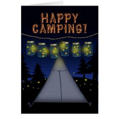 Summer Camp Fireflies in Canning Jars Night Lights Card