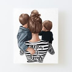 Mother Daughter Art, Mother Art, Mother And Father, Mothers, Baby Pictures, Baby Photos, Family Drawing, Mommy And Son, Family Tattoos