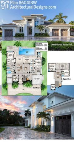Plan Grand Florida House Plan Architectural Designs House Plan has an open floor plan and indoor/outdoor living with the back wall of the great room collapsing creating an enormous continuous space that flows to include the covered lanai - Florida House Plans, Pool House Plans, Dream House Plans, Modern House Plans, Florida Home, Florida Living, Architectural Design House Plans, Architecture Design, The Plan