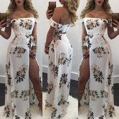 Stylish Off Shoulder High Slit Belted Floral Maxi Dress Casual Outfits For Girls, Preppy Outfits, Girly Outfits, Stylish Outfits, Casual Dresses, Cool Outfits, Fashion Dresses, Summer Dresses, Tube Dress