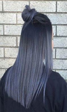 Granny Silver/ Grey Hair Color Ideas: Smoky Grey Straight Hair - All For Hair Color Balayage Brunette Color, Balayage Brunette, Ombre Hair Color, Hair Color Balayage, Purple Hair, Grey Ombre, Ombre Balayage, Green Hair, Ombre Nail