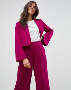 ASOS Tailored Cropped Blazer In Pop Pink - Pink